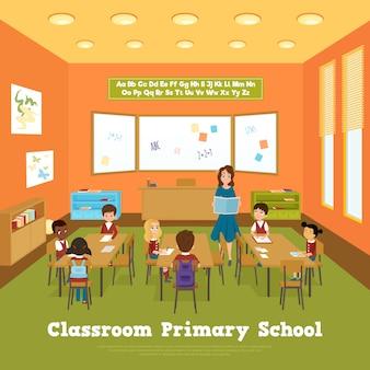 Modelo de sala de aula da escola primária