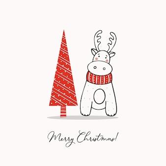 Modelo de saudação com rena fofa e árvore de natal estilizada
