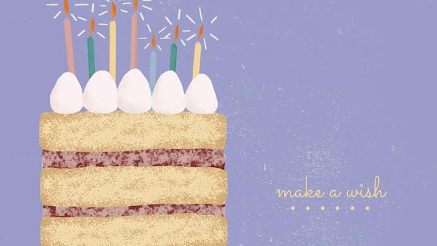 Modelo de saudação de aniversário fofo com ilustração de bolo