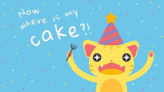 Modelo de saudação de aniversário infantil com desenho bonito de gato faminto