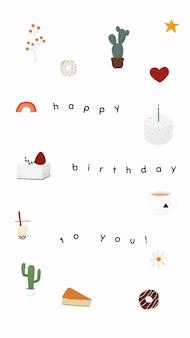 Modelo de saudação de aniversário online com bolo fofo e moldura de cacto
