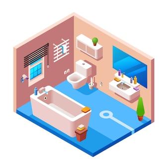 Modelo de seção transversal do fundo interior do banheiro. 3d casa moderna, apartamento do hotel