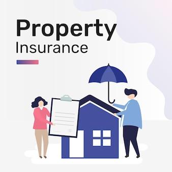 Modelo de seguro de propriedade para postagem em mídia social