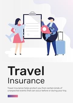 Modelo de seguro de viagem para pôster