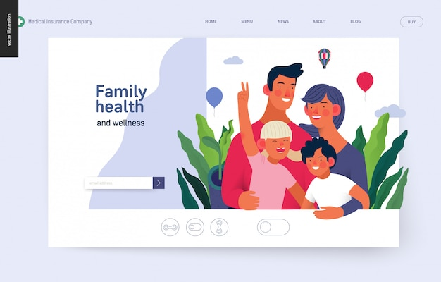 Modelo de seguro médico - saúde e bem-estar da família