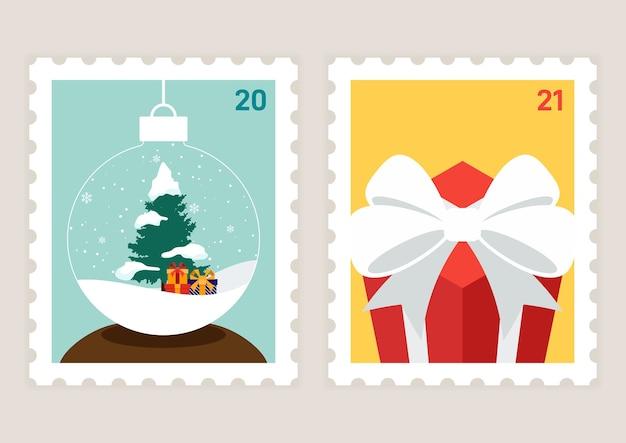 Modelo de selo postal de feliz natal e feliz ano novo decorativo com cenário de inverno e caixa de presente