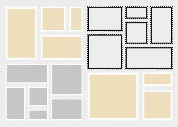 Modelo de selos postais. retângulo em branco e selos postais quadrados.