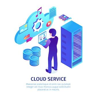 Modelo de serviço de nuvem isométrica
