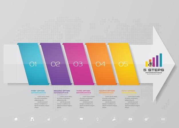 Modelo de seta de 5 passos para apresentação de dados.