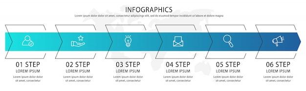 Modelo de setas infográfico com seis elementos