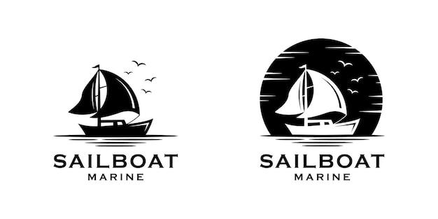 Modelo de silhueta de logotipo marinho de veleiro