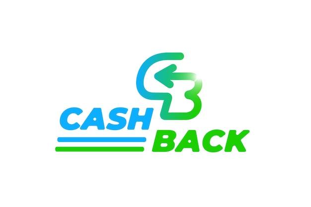 Modelo de símbolo de etiqueta de serviço de devolução de dinheiro restituição de dinheiro seta de etiqueta de devolução de dinheiro nas letras formas c e b