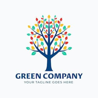 Modelo de símbolo de logotipo de árvore de vida com folhas coloridas