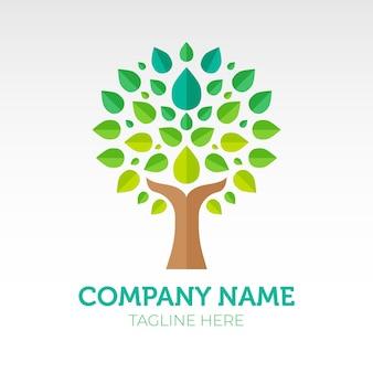 Modelo de símbolo de logotipo de árvore gradiente verde vida