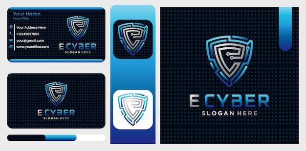 Modelo de símbolo de logotipo de escudo seguro cibernético letra e