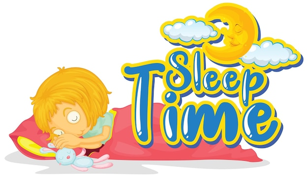 Modelo de sinal com a palavra tempo de sono e menina na cama