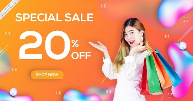 Modelo de sinal de banner de venda digital