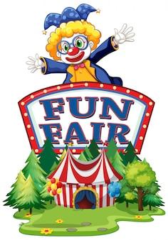 Modelo de sinal de feira de diversões com palhaço feliz em