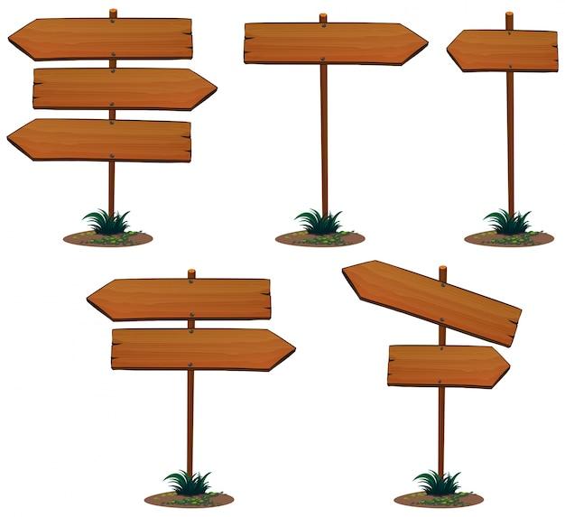 Modelo de sinal de madeira com poste