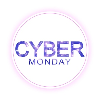 Modelo de sinal de venda da cyber segunda-feira. projeto de banner promocional. etiqueta venda cyber monday.
