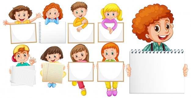Modelo de sinal em branco com crianças felizes em fundo branco