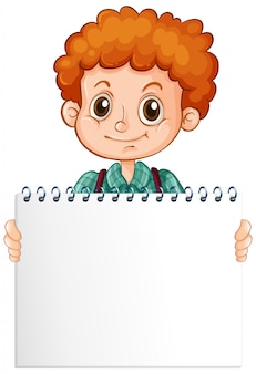 Modelo de sinal em branco com garoto bonito no fundo branco