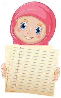 Modelo de sinal em branco com menina muçulmana no fundo branco