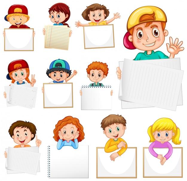 Modelo de sinal em branco com muitas crianças no fundo branco