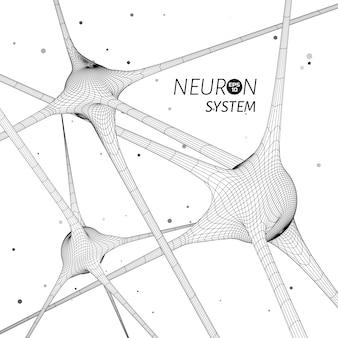 Modelo de sistema 3d de neurônios. elemento de design gráfico de vetor para publicação de ciência.