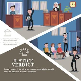 Modelo de sistema judicial plana com diferentes participantes da audiência e advogado feliz segurando o documento com veredicto de justiça na frente do júri