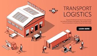 Modelo de site 3D isométrica - logística de transporte