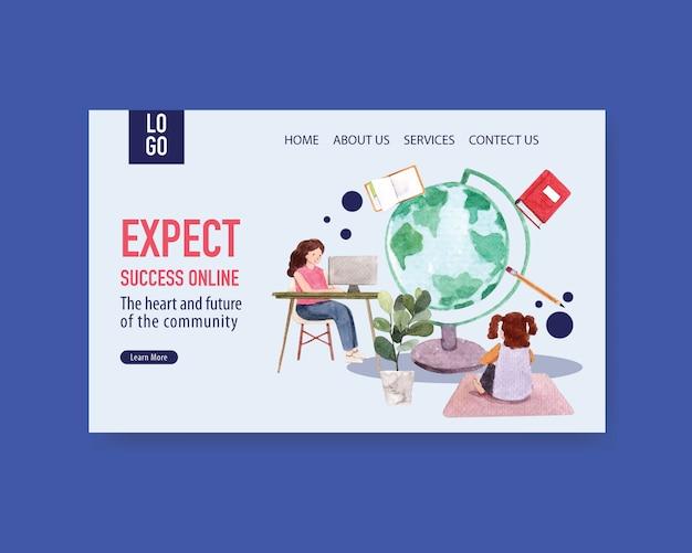 Modelo de site com aquarela de design do conceito de educação on-line
