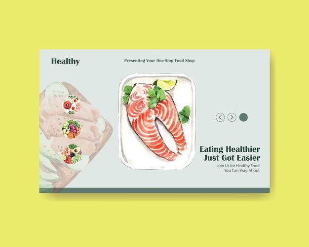 Modelo de site com design de alimentos saudáveis e orgânicos