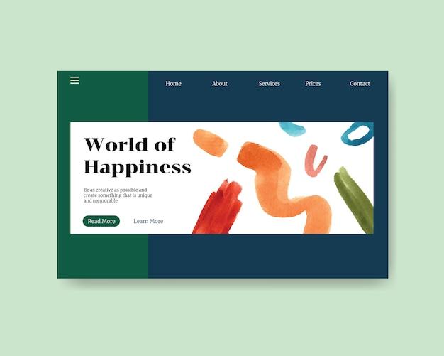Modelo de site com design de compras para internet e ilustração em aquarela comunidade on-line