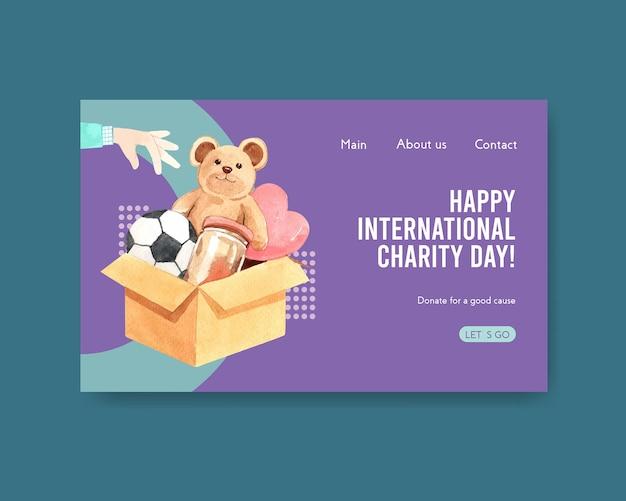 Modelo de site com design de conceito de dia internacional da caridade para comunidade online e aquarela de internet.