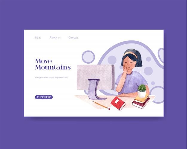 Modelo de site com design de conceito de educação on-line.