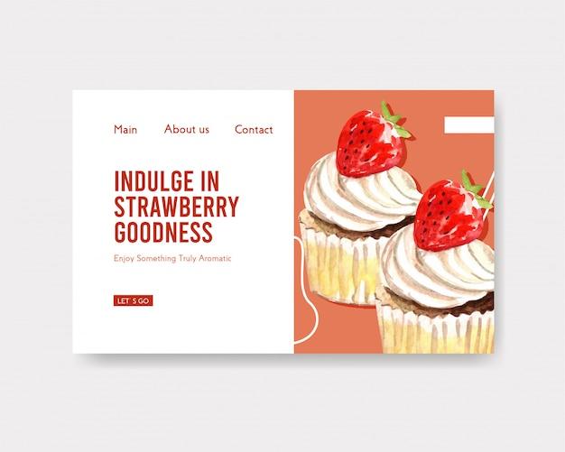 Modelo de site com design de cozimento de morango para internet, comunidade on-line e anunciar ilustração aquarela
