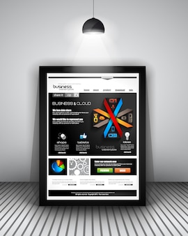 Modelo de site com design de infográficos