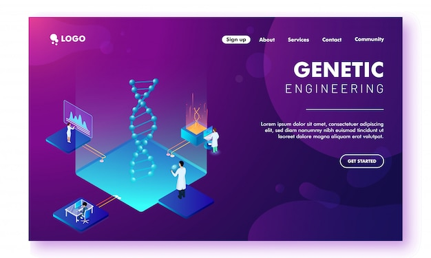 Modelo de site com grupo de cientistas fazendo pesquisa