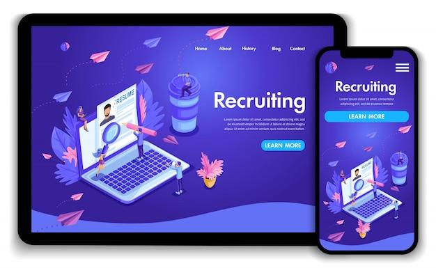 Modelo de site. conceito isométrico de recrutamento. os recursos humanos da agência de emprego criativos encontram experiência. fácil de editar e personalizar a página de destino, ui ux