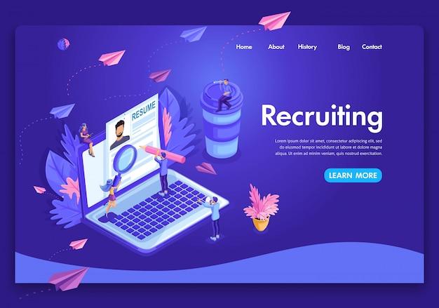 Modelo de site. conceito isométrico de recrutamento. os recursos humanos da agência de emprego criativos encontram experiência. fácil de editar e personalizar a página de destino