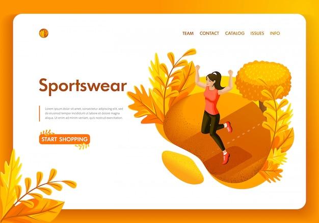 Modelo de site. conceito isométrico desportista de garota outono no parque. loja de roupas esportivas e equipamentos. fácil de editar e personalizar