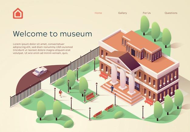 Modelo de site da página de destino bem-vindo ao museu