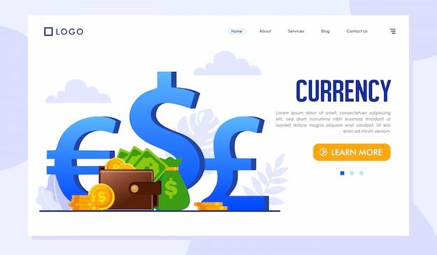 Modelo de site da página de destino da moeda