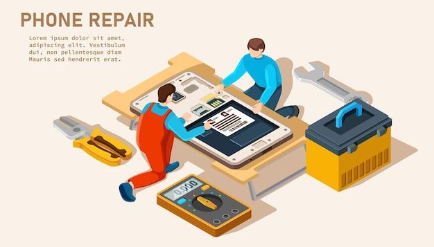 Modelo de site da página de destino do serviço de conserto de telefone