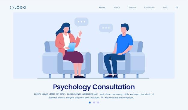 Modelo de site da página de destino para consulta de psicologia