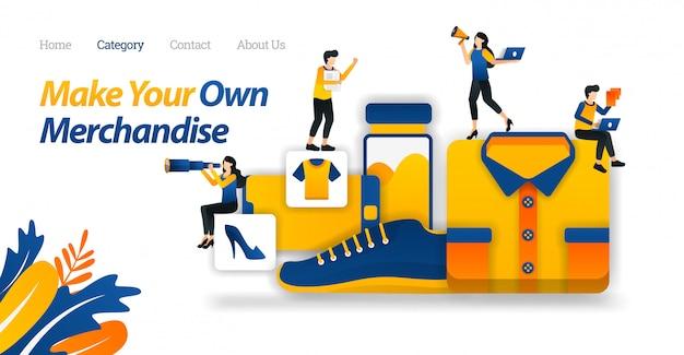 Modelo de site da página de destino para loja e faça sua própria mercadoria