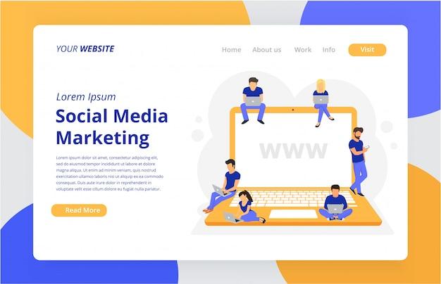 Modelo de site da página de destino para marketing de mídia social
