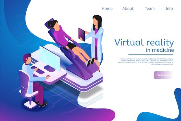 Modelo de site da página de destino para realidade virtual em medicina em 3d