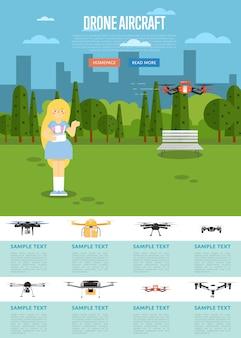 Modelo de site de aeronaves drone com robô voador